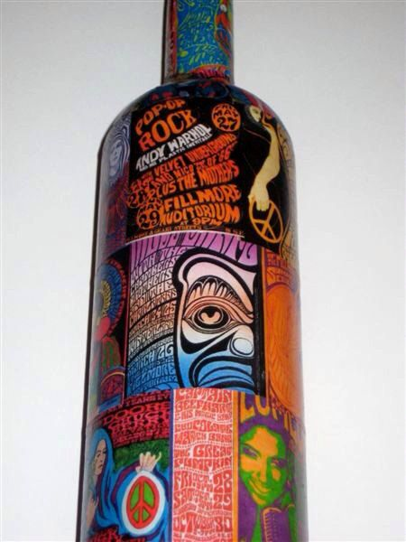 Psychedelic Poster Decoupage on Wine Bottle