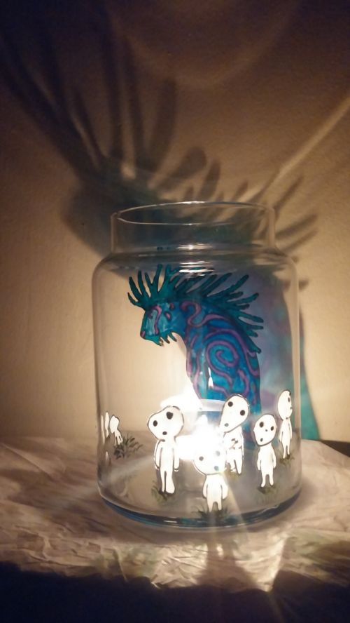 Fanart Studio Ghibli Hayao Miyazaki Princess Mononoke Nightwalker Kodama Tree Spirits Stained Glass Candle Holder w Lid