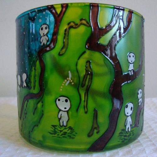 Fan Art Studio Ghibli Disney Hayao Miyazaki Inspired Kodamas Tree Spirit Forest Candle Holder